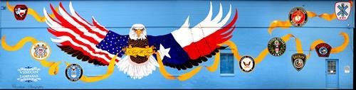 """Patriot"" mural - 405 North Key Avenue, Lampasas, TX"