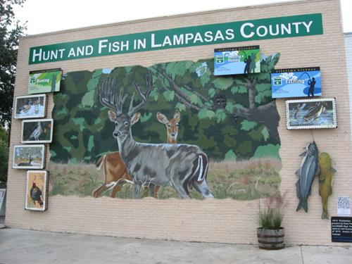 """Hunt and Fish in Lampasas County"" mural - 4th and Liveoak Street, Lampasas, TX"