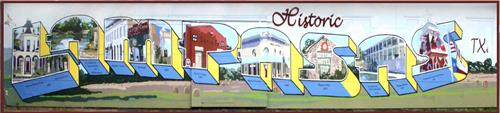 """Postcard From Lampasas"" mural - 6th and Western Street, Lampasas, TX"
