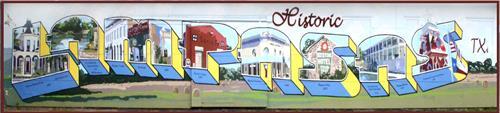 """Postcard From Lampasas"" mural - 6th and Western Street, Lampasas, TX"