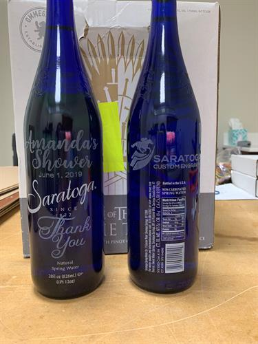 Engraved Saratoga Water Bottles for a Bridal Shower