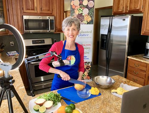 Planted Platter's founder, Deb Czech, teaching an online plant-based cooking class.