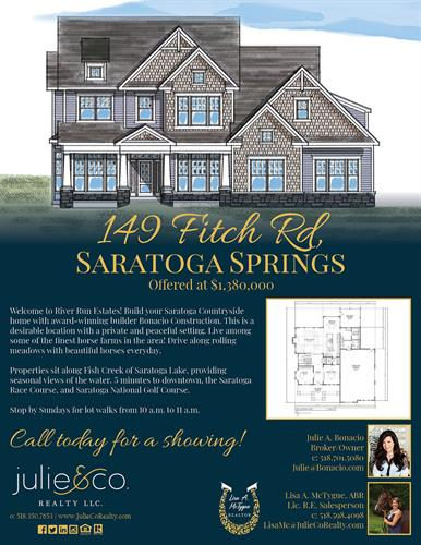 Build your dream home on Fitch Rd, Saratoga Springs with Bonacio Construction