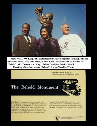 "L-R 1.11.20 KING NATIONAL HISTORICAL PARK, ATLANTA, GEORGIA. ""ROOTS"" MINISERIES ACTOR, JOHN AMOS; MRS. CORETTA SCOTT KING, AND ""BEHOLD"" NATIONAL MONUMENT SCULPTOR, PATRICK MORELLI. AFTER MRS. KING UNVEILED ""BEHOLD"" SITED OVERLOOKING DR. KING'S TOMB."
