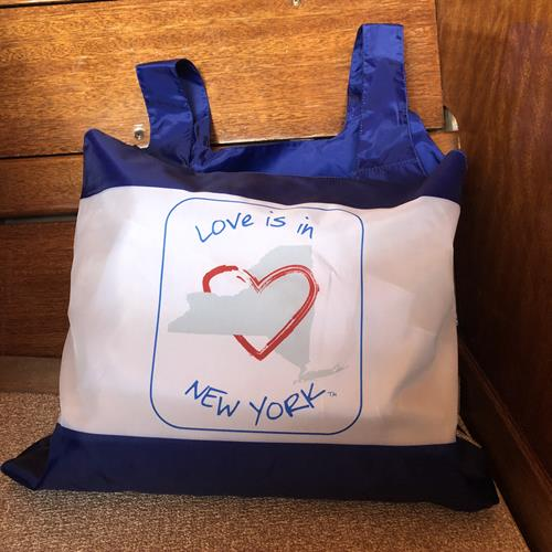 Love is in New York reusable tote.