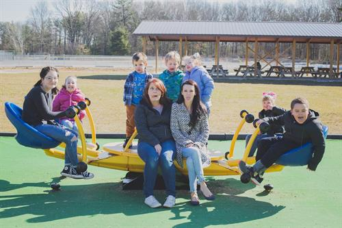 We completely understand the chaos life may entail... as seen in this photo... Myself (Emily) and Trisha are trying to balance life with a total of 7 Children between the 2 of us. Trisha with 4 girls and myself with 3 boys.