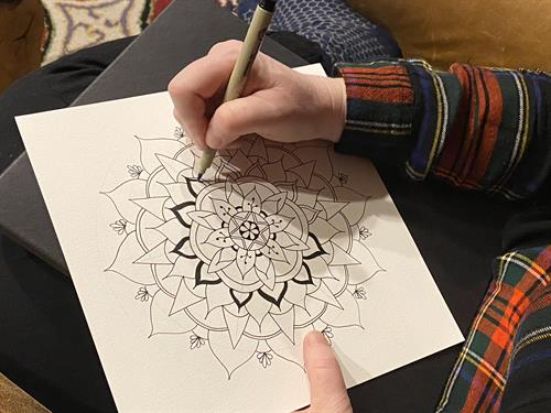 Featuring original hand-drawn mandala designs.