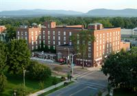 Aerial of The Queensbury Hotel and Adirondack Mountains
