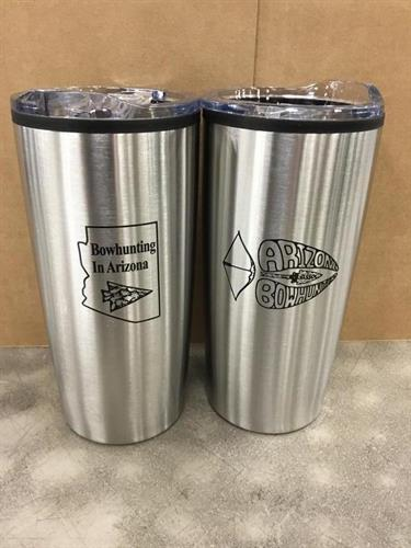 Our customer came to us looking for a tumbler with a one sided imprint that had two logos on them. Our art department suggested that they go to a two sided imprint to give each logo plenty of room to breath. The client loved it and they do look great!