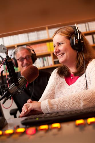 Attorneys Debra Verni and Harry Miller on the radio