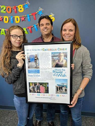 GTM's sponsored Make-A-Wish child visits with GTM's founder and CEO Guy Maddalone, and Diane Maddalone, Controller.