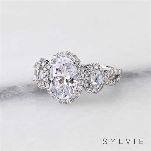 SYLVIE Three-Stone Diamond Engagement Ring available at N. Fox Jewelers