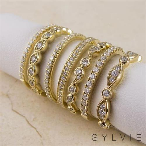 SYLVIE Stackable Diamond Bands available at N. Fox Jewelers
