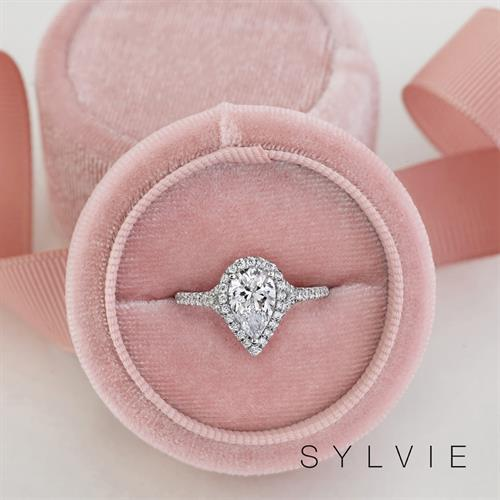 SYLVIE Pear Shaped Halo Diamond Engagement Ring available at N. Fox Jewelers