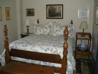 Blue Room - double bed, shares bath with Red Room, adjoins library