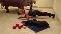 Jenn doing some training while training Duke at the same time!