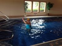 Aqua workout with client Kay