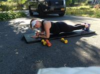 Outdoor workout with client Karin