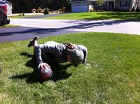 Outdoor medicine ball workout with client Julie
