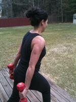 Weightlifting on the deck with client Crystal