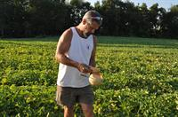 John Hand, owner of Hand Melon Farm sampling the world famous Hand Melon