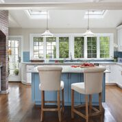 White and blue transitional kitchen.  Design by Arthur Zobe; photp P. Rymwind
