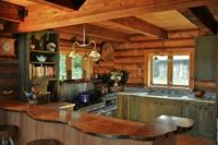 Off-the-grid Adirondack kitchen.  Design by Arthur Zobel