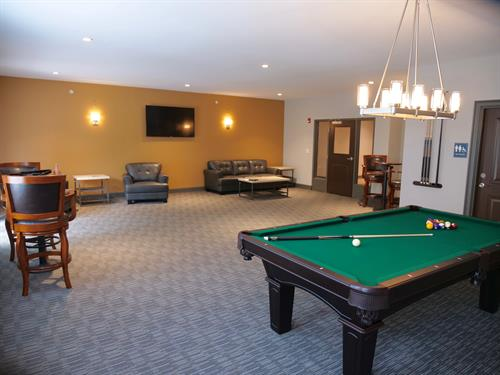 Enjoy a game or hanging out with friends in our Billiard room.