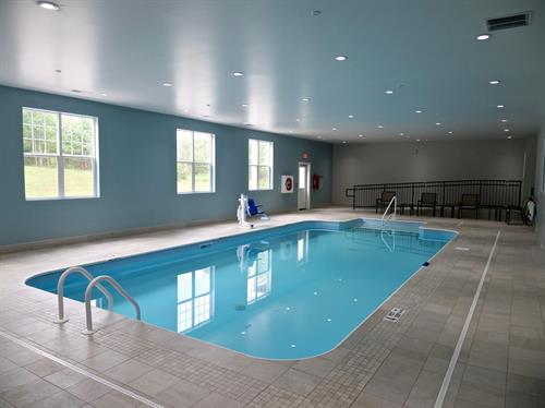 Enjoy our indoor saltwater pool year-round