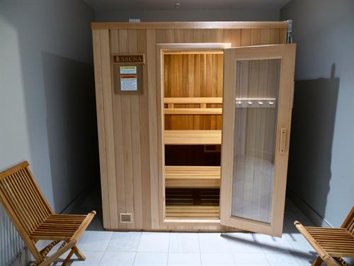 Relax your muscles in our sauna.