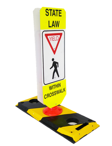 Pedestrian Crossing Sign, Base, and Rebound Post