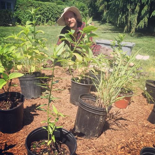 Planting a butterfly garden in Niskayuna.