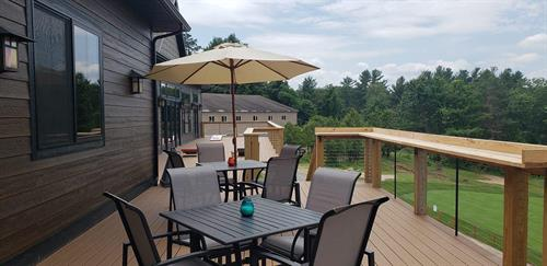Our large deck overlooking Saratoga Lake Golf Club