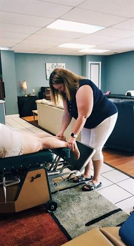 Dr. Annette Bennett adjusting.