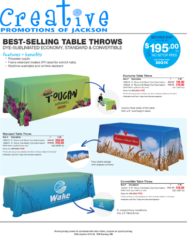 Table throws on sale until March 31, 2018