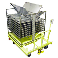 Rotating Cart with Lift Up Shelves
