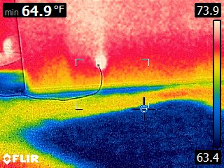 FLIR image of wet carpet.