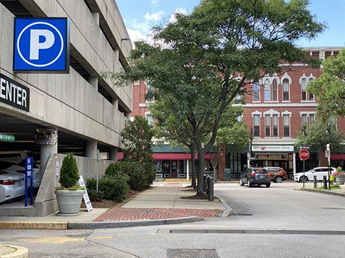 Parking Garage - hourly, daily, monthly parking options. Corner of Hanover and Elm Streets