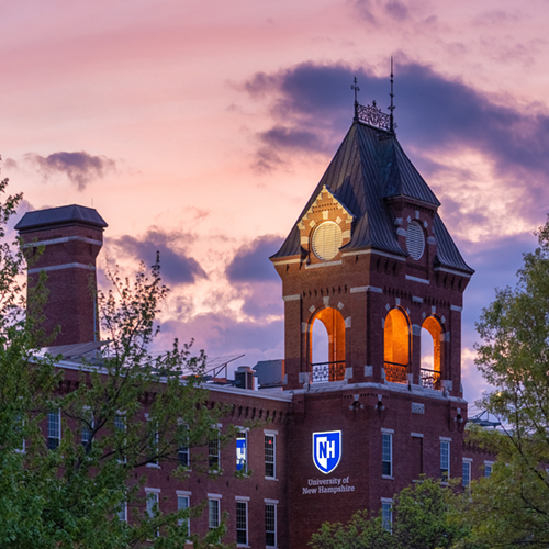 Sunset on UNH Manchester's home, the historic Pandora Mill building.