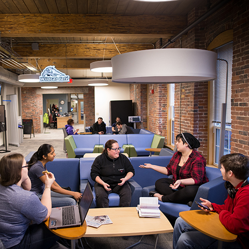 UNH Manchester's student commons is a go-to spot for studying and socializing with classmates.
