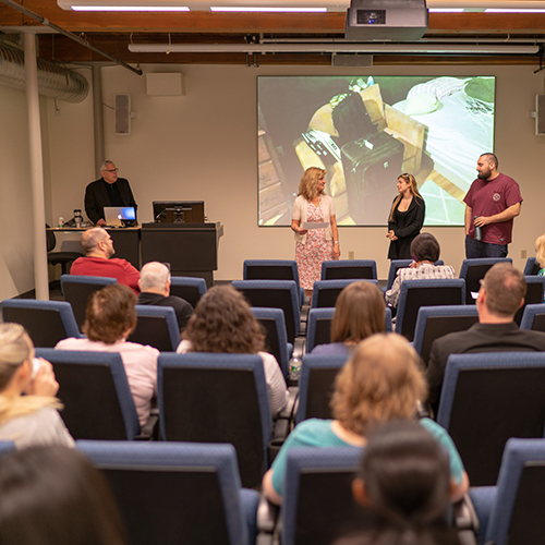 UNH Manchester's communication arts program features a screening room to showcase student productions.