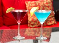 Pomegranate and Blue Skis Martinis