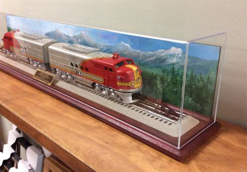 For the train collector. (Framing Project: Retirement gift)