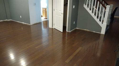 Hardwood floor that has been cleaned