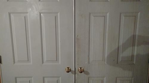 The door on the left was cleaned.  The door on the right has grease stains.