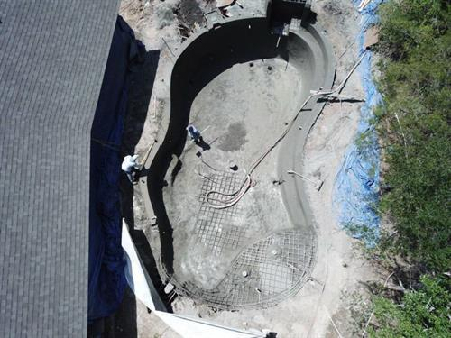 Aerial view of the beginning stage of pool construction