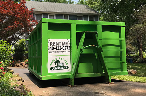 16 yard dumpster. Big enough for construction debris, like tearing out an old deck