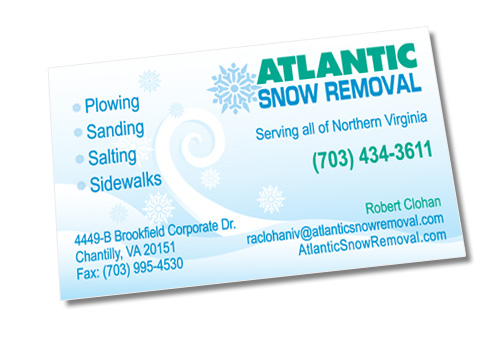 Business card for snow removal company
