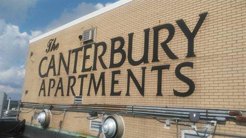 We painted the sign on the Canterbury Apartments building. We're commercial painters too!