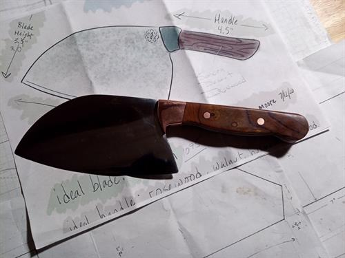 Japanese style cleaver with Desert Ironwood handle - blade handmade from 1095 high carbon